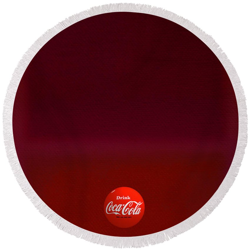 Coca-cola Round Beach Towel featuring the painting Red Over Red by Charles Stuart