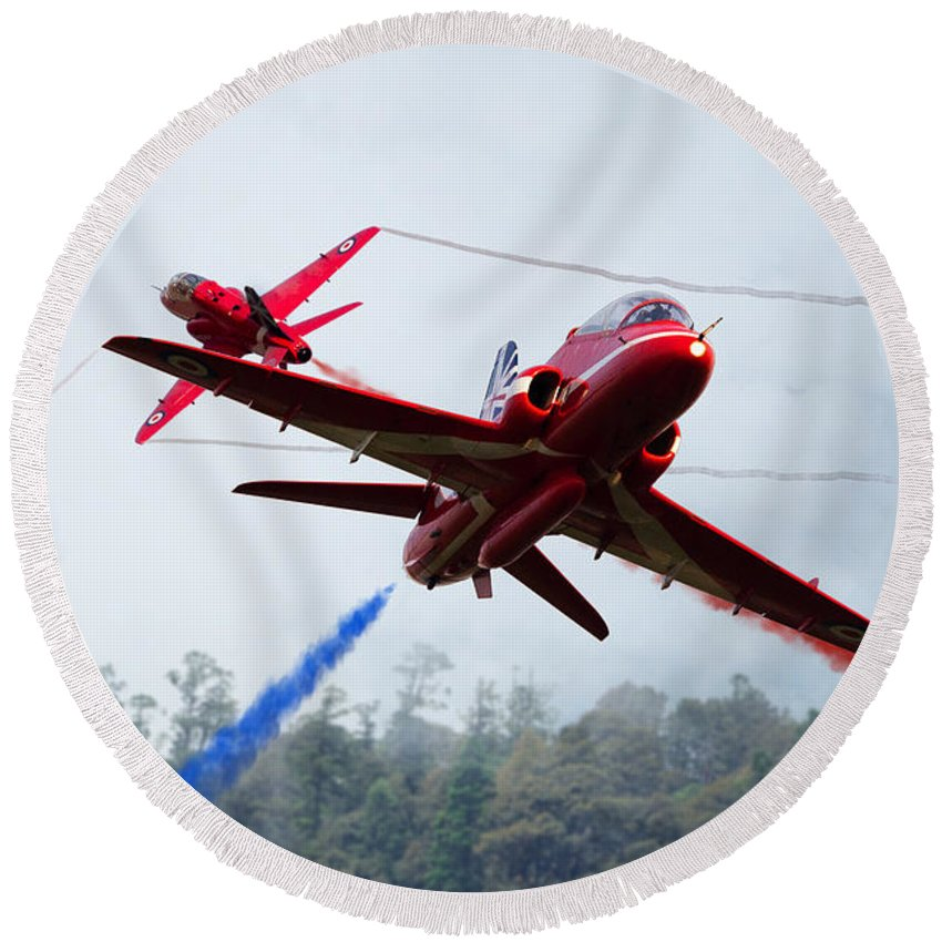 The Red Arrows Round Beach Towel featuring the digital art Red Pair by J Biggadike