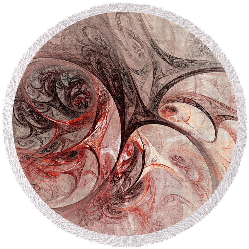Fractal Round Beach Towel featuring the digital art Red Passion - Abstract Art by Martin Capek