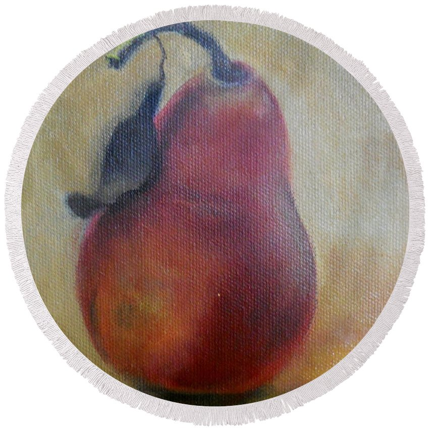 Still Life Round Beach Towel featuring the painting Red Pear by Marlene Book