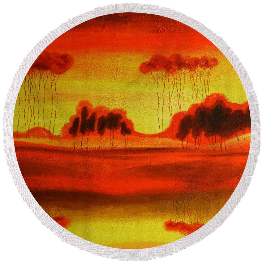 Love Paintings Paintings Round Beach Towel featuring the painting Red Planet by Leon Zernitsky
