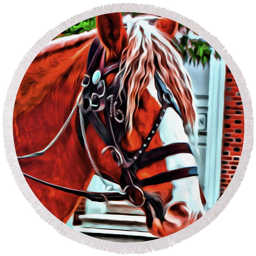 Horse Pony Draft 76 Alicegipsonphotographs Round Beach Towel featuring the photograph Red Pony by Alice Gipson