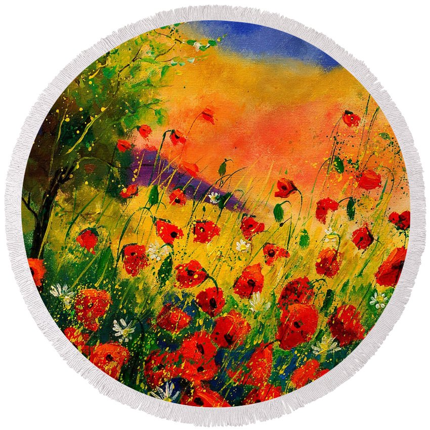 Poppies Round Beach Towel featuring the painting Red Poppies 45 by Pol Ledent