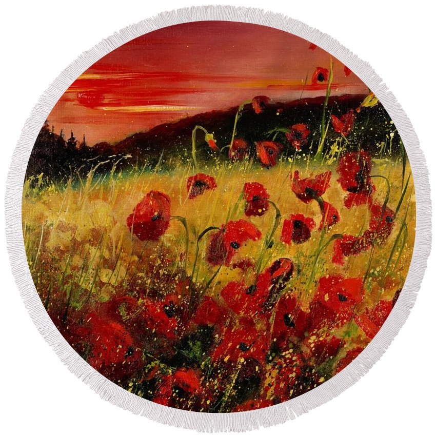 Poppies Round Beach Towel featuring the painting Red Poppies And Sunset by Pol Ledent