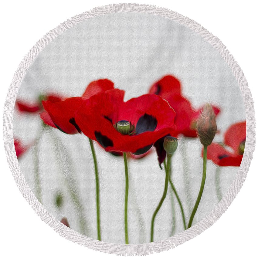 Clare Bambers Round Beach Towel featuring the photograph Red Poppy by Clare Bambers