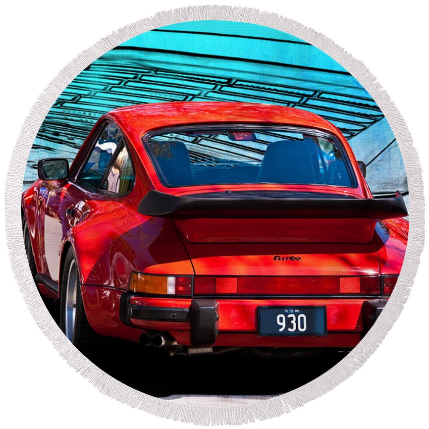 Red Round Beach Towel featuring the photograph Red Porsche 930 Turbo by Stuart Row