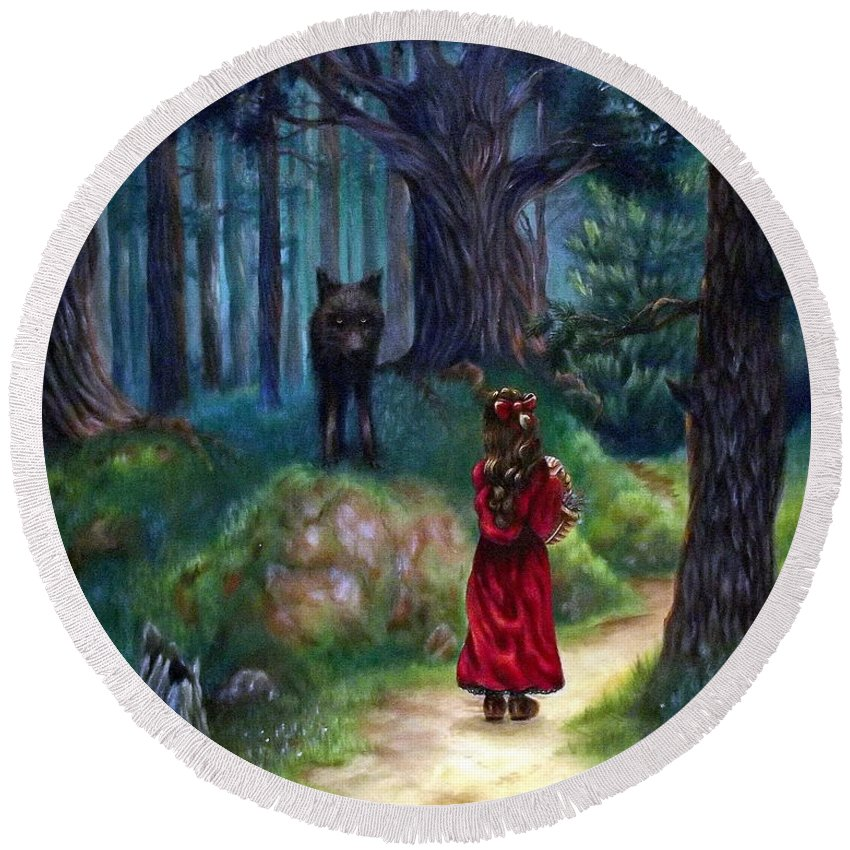 Red Riding Hood Round Beach Towel featuring the painting Red Riding Hood by Heather Calderon