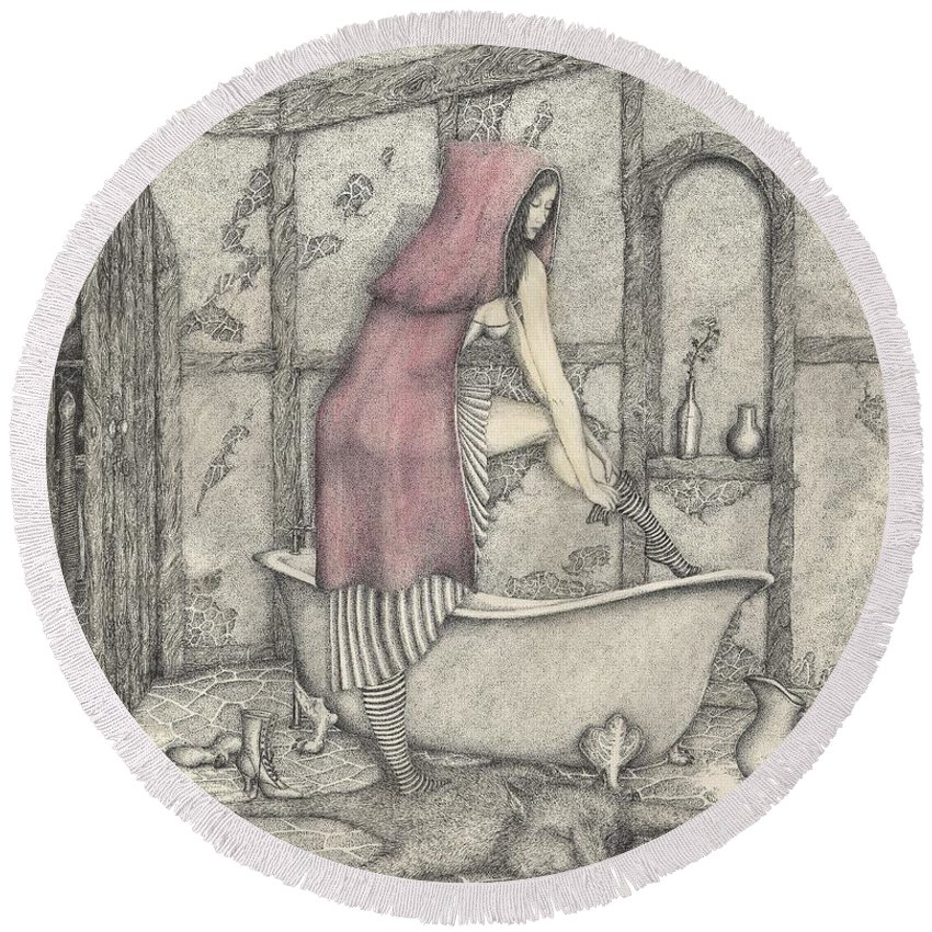 Drawing Round Beach Towel featuring the mixed media Red Riding Hood-one Month Later by Michael Stanford