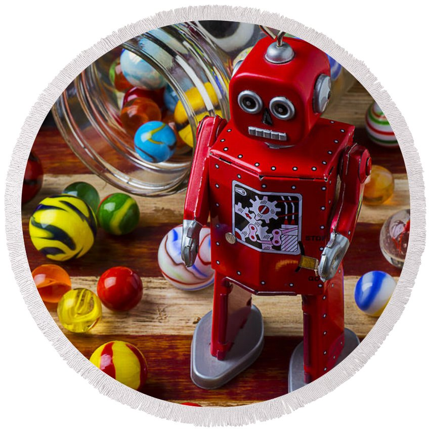 Red Round Beach Towel featuring the photograph Red Robot And Marbles by Garry Gay
