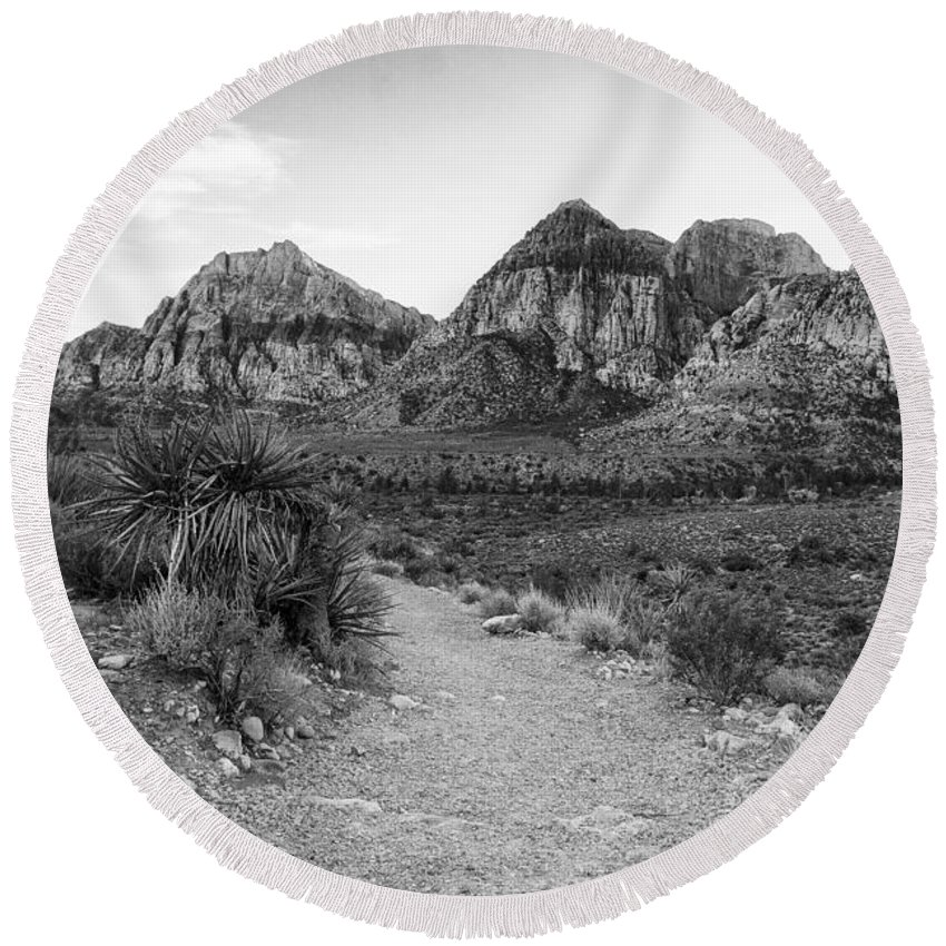 Red Rock Canyon Round Beach Towel featuring the photograph Red Rock Canyon Trailhead Black And White by Stephanie McDowell