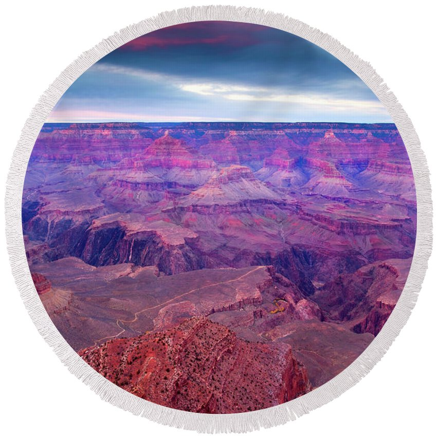 Grand Canyon Round Beach Towel featuring the photograph Red Rock Dusk by Mike Dawson