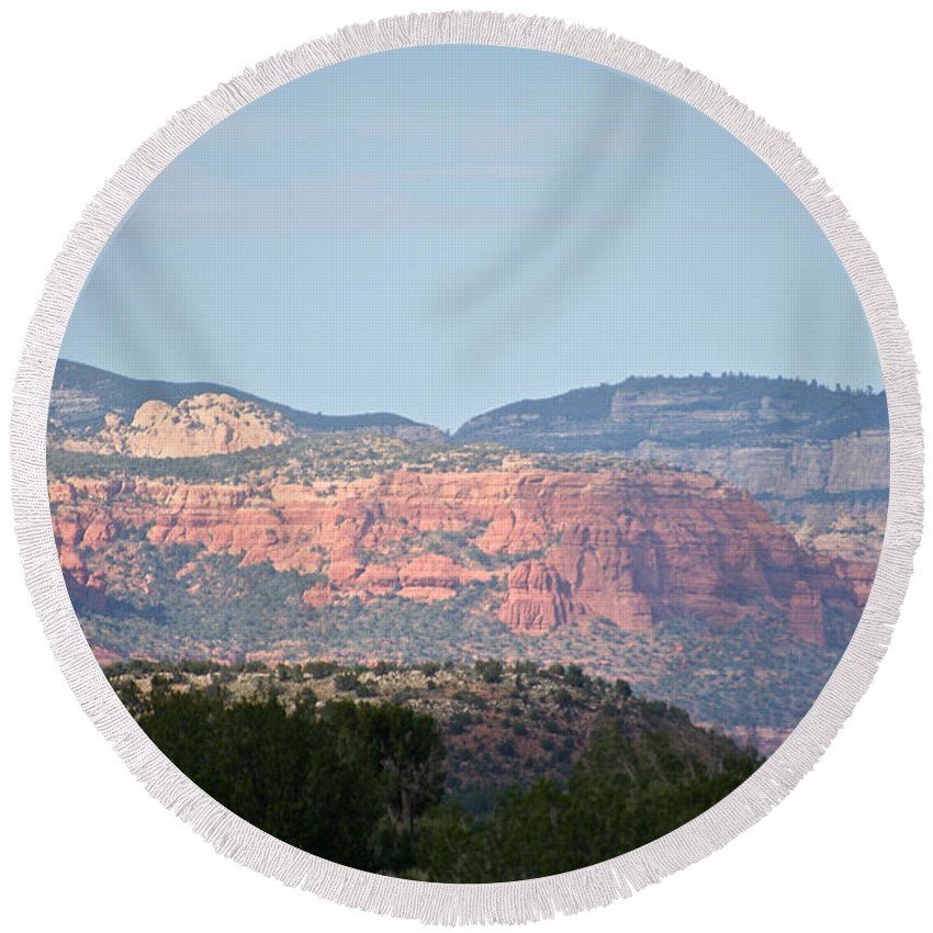 Outdoors Round Beach Towel featuring the photograph Red Rock Evening by Susan Herber