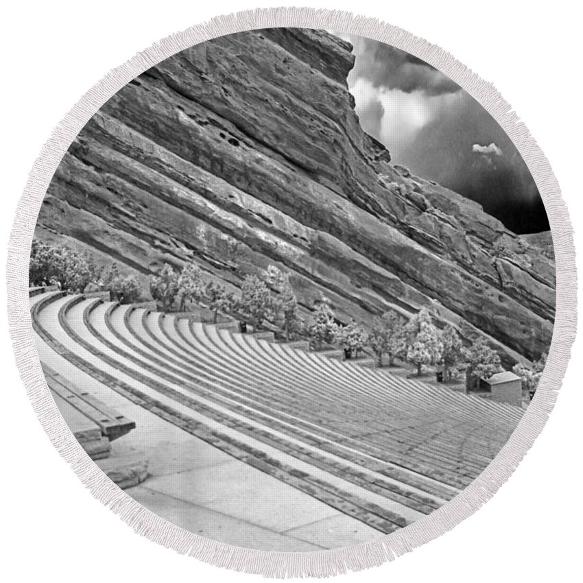 Colorado Round Beach Towel featuring the photograph Red Rocks Amphitheater - Black And White by Rich Walter