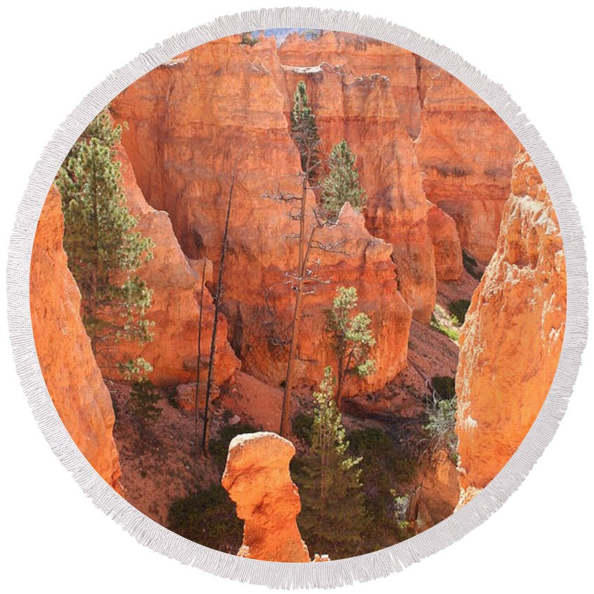 Canyon Round Beach Towel featuring the photograph Red Rocks - Bryce Canyon by Christiane Schulze Art And Photography