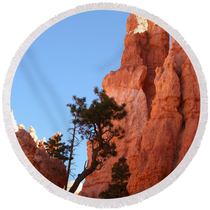 Canyon Round Beach Towel featuring the photograph Red Rocks Of Bryce Canyon by Christiane Schulze Art And Photography