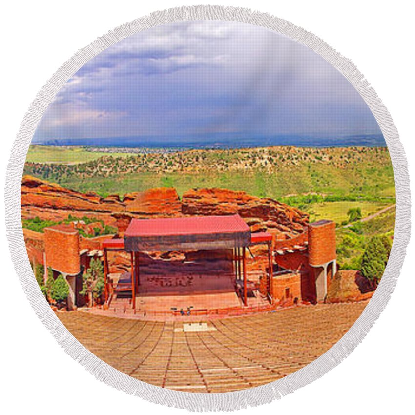 Colorado Round Beach Towel featuring the photograph Red Rocks Park Amphitheater - Panoramic by Rich Walter