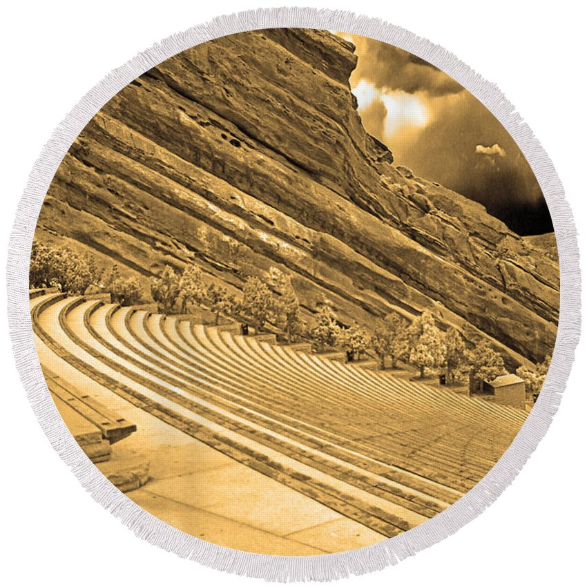 Colorado Round Beach Towel featuring the photograph Red Rocks Park Amphitheater - Sepia by Rich Walter