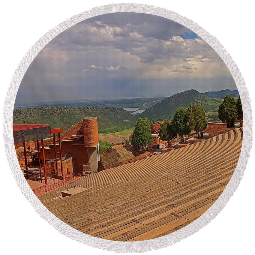 Colorado Round Beach Towel featuring the photograph Red Rocks Park Amphitheater by Rich Walter