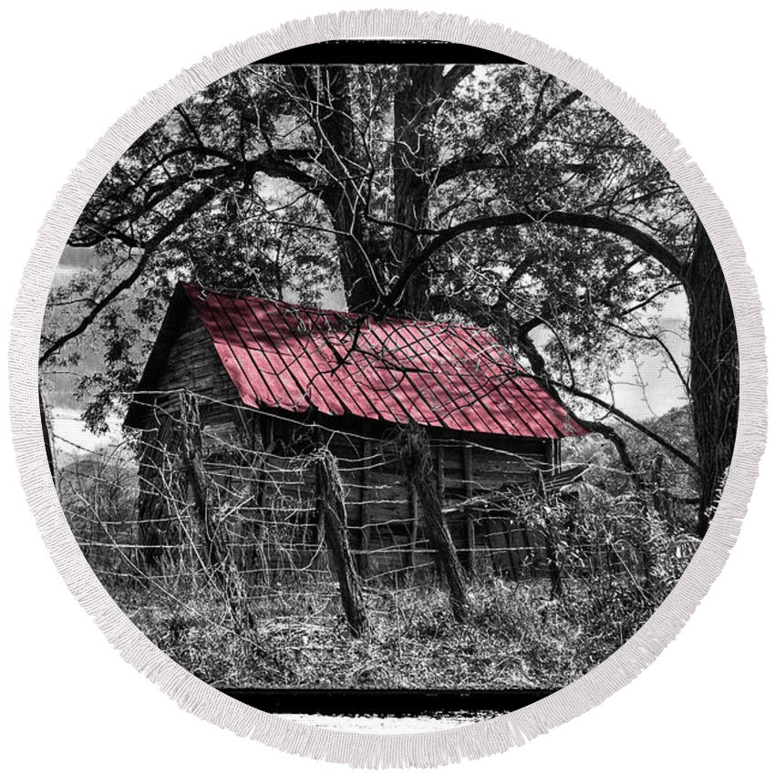 Andrews Round Beach Towel featuring the photograph Red Roof by Debra and Dave Vanderlaan
