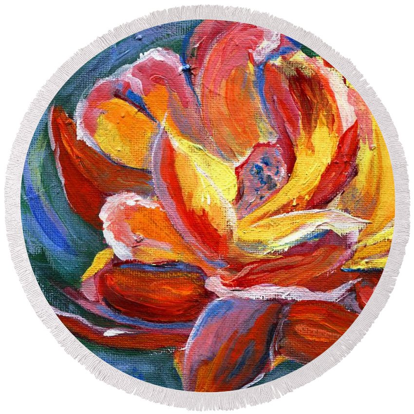 Rose Round Beach Towel featuring the painting Red Rose by Jamie Frier