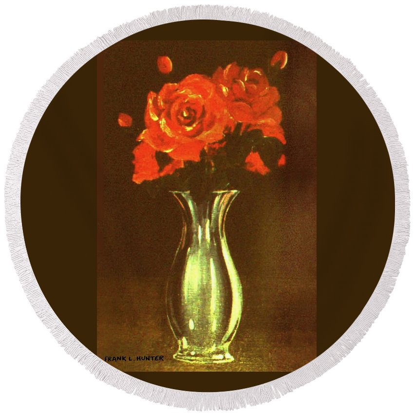Red Roses In A Silver Vase Round Beach Towel For Sale By Frank Hunter