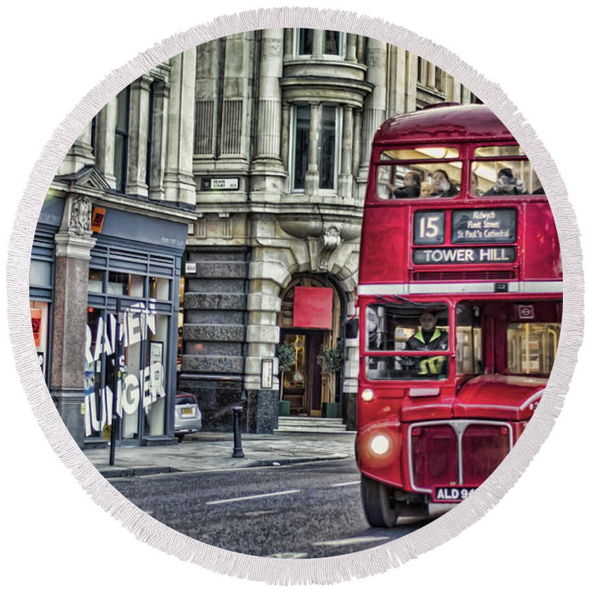 Routemaster Round Beach Towel featuring the photograph Red Routemaster by Heather Applegate