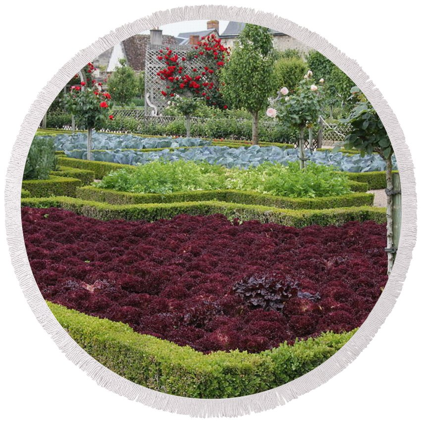 Salad Round Beach Towel featuring the photograph Red Salad And Roses - Chateau Villandry Garden by Christiane Schulze Art And Photography