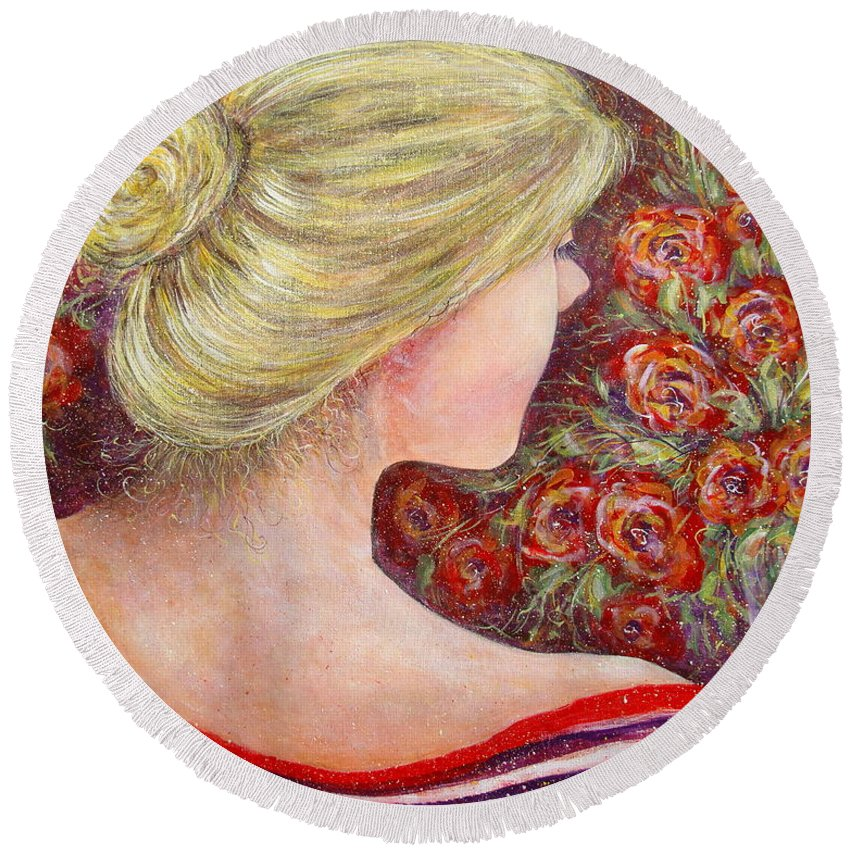 Female Round Beach Towel featuring the painting Red Scented Roses by Natalie Holland