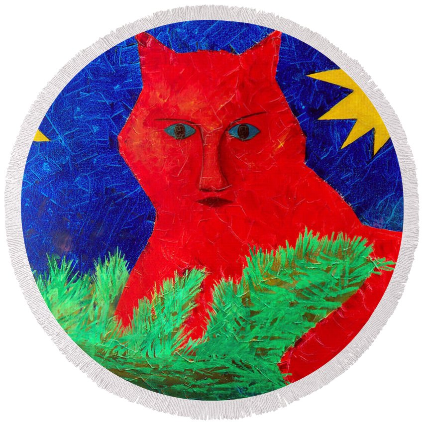 Fantasy Round Beach Towel featuring the painting Red by Sergey Bezhinets