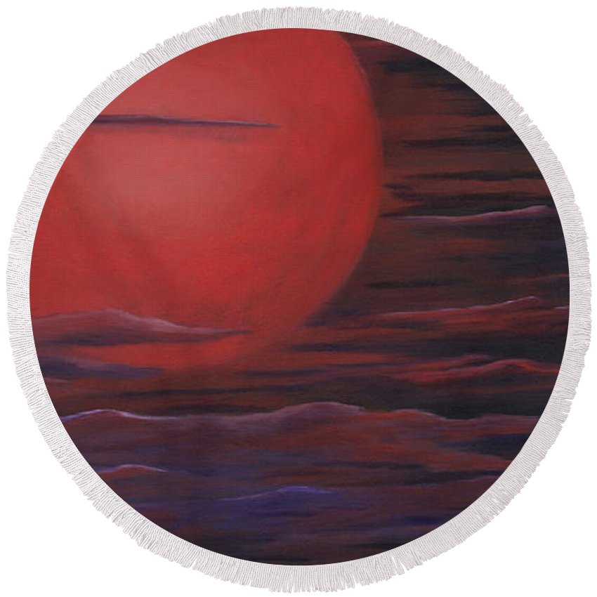 Acrylic Paintings Round Beach Towel featuring the painting Red Sky A Night by Michelle Joseph-Long