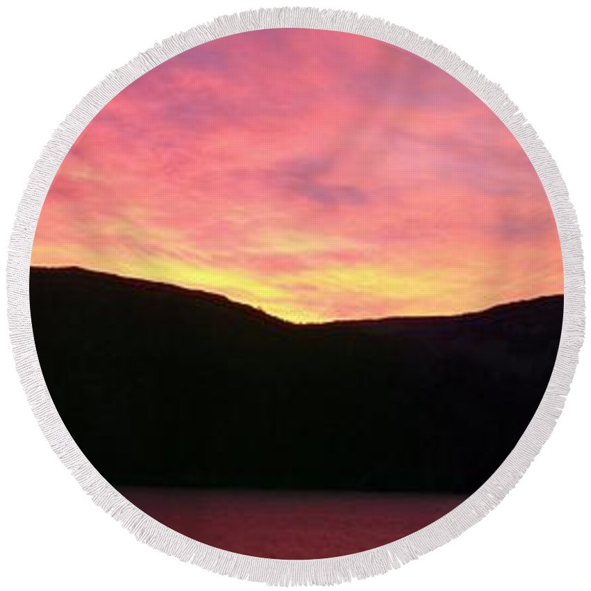 Barbara Griffin Round Beach Towel featuring the photograph Red Sky At Morning Sailors Take Warning by Barbara Griffin