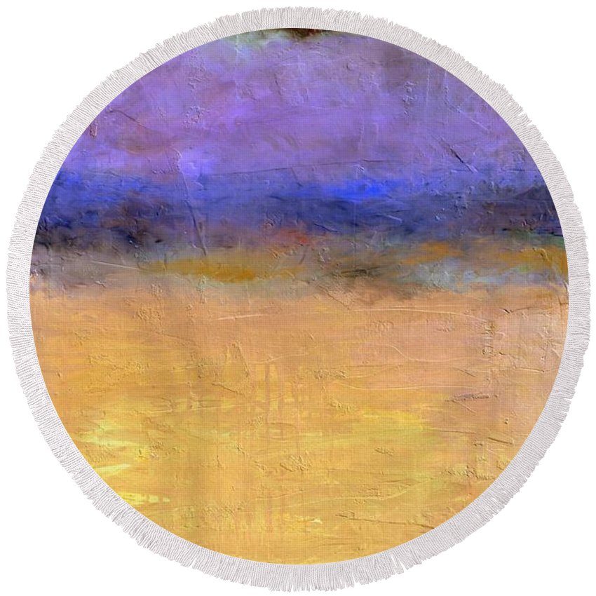 Lake Round Beach Towel featuring the painting Red Sky by Michelle Calkins