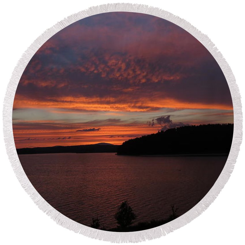 Landscape Round Beach Towel featuring the photograph Red Sky Over Wachusett 1 by Ronald Raymond