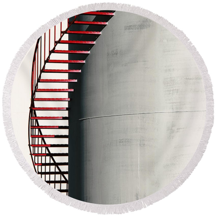 Metal Round Beach Towel featuring the photograph Red Steps On Tank by Robert Woodward