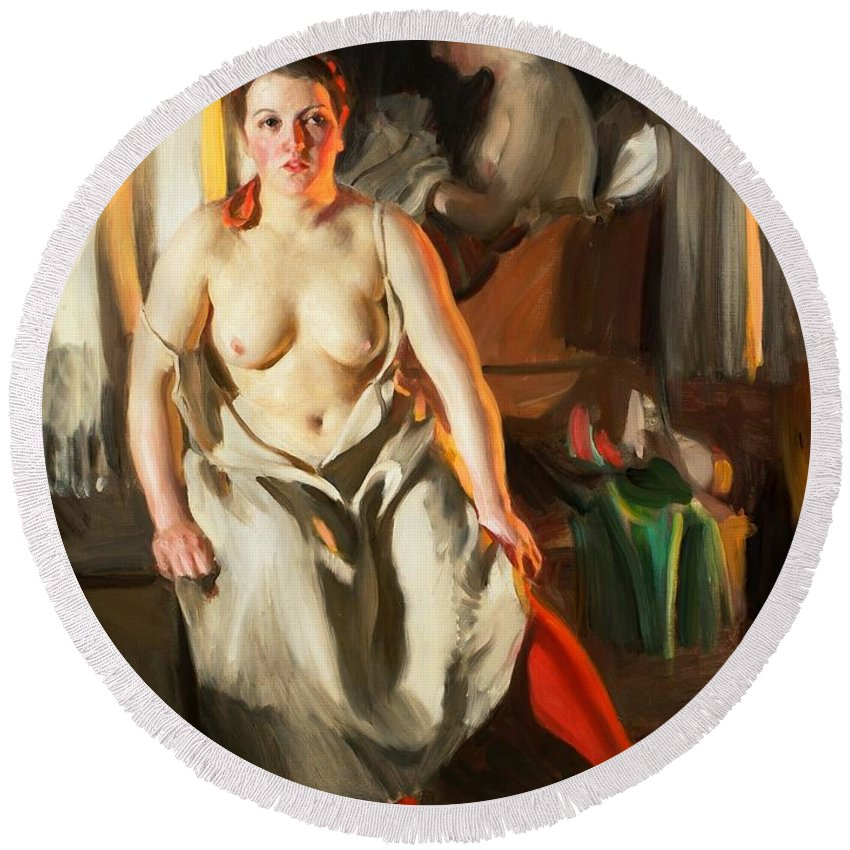 Red Stockings Round Beach Towel featuring the digital art Red Stockings by Anders Zorn