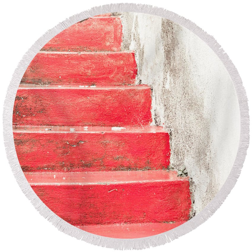 Abstract Round Beach Towel featuring the photograph Red Stone Steps by Tom Gowanlock