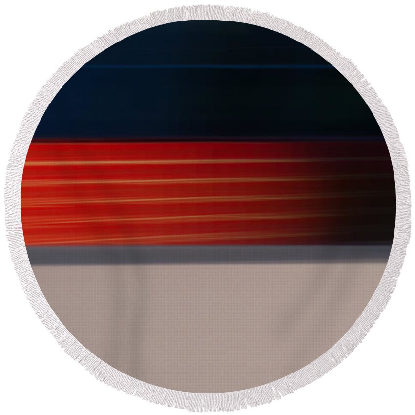 Motion Blur Round Beach Towel featuring the photograph Red Stripe Disappearing by Dayne Reast