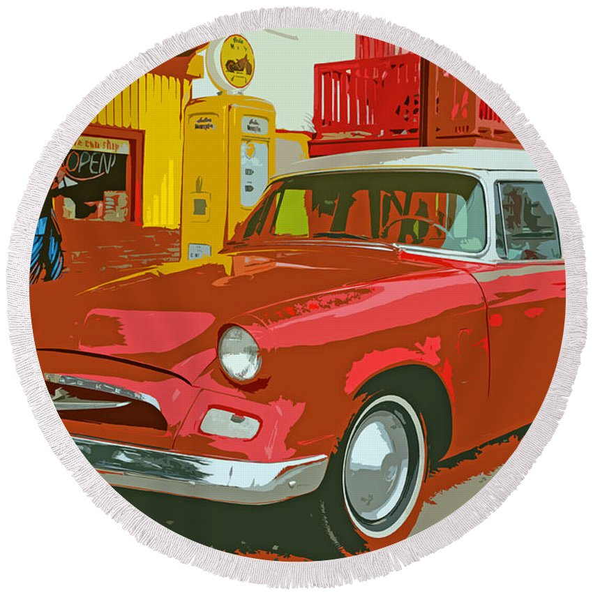 Red Round Beach Towel featuring the photograph Red Studebaker by Lynn Sprowl