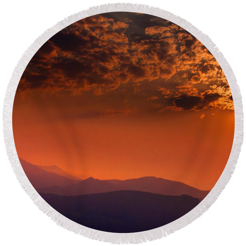 Red Round Beach Towel featuring the photograph Red Sumer Sunset by Weston Westmoreland