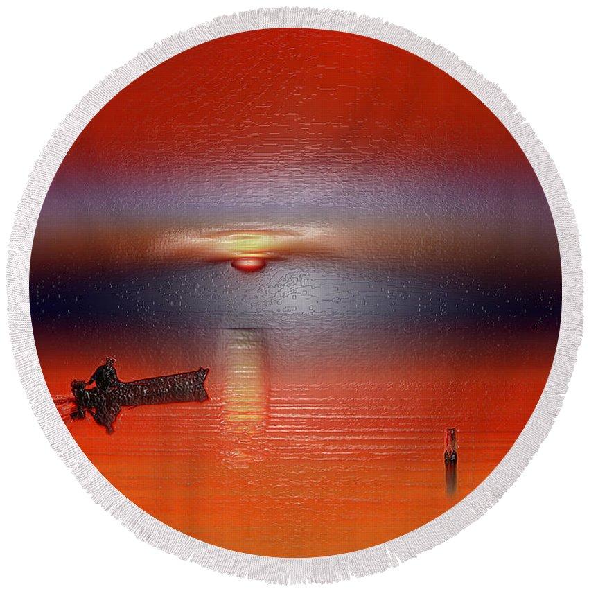 Landscape Round Beach Towel featuring the digital art Red Sun by Scott Mendell