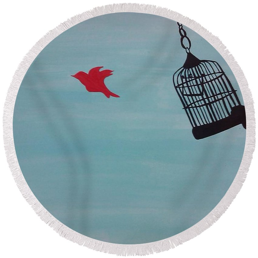 Round Beach Towel featuring the RED by Surbhi Grover