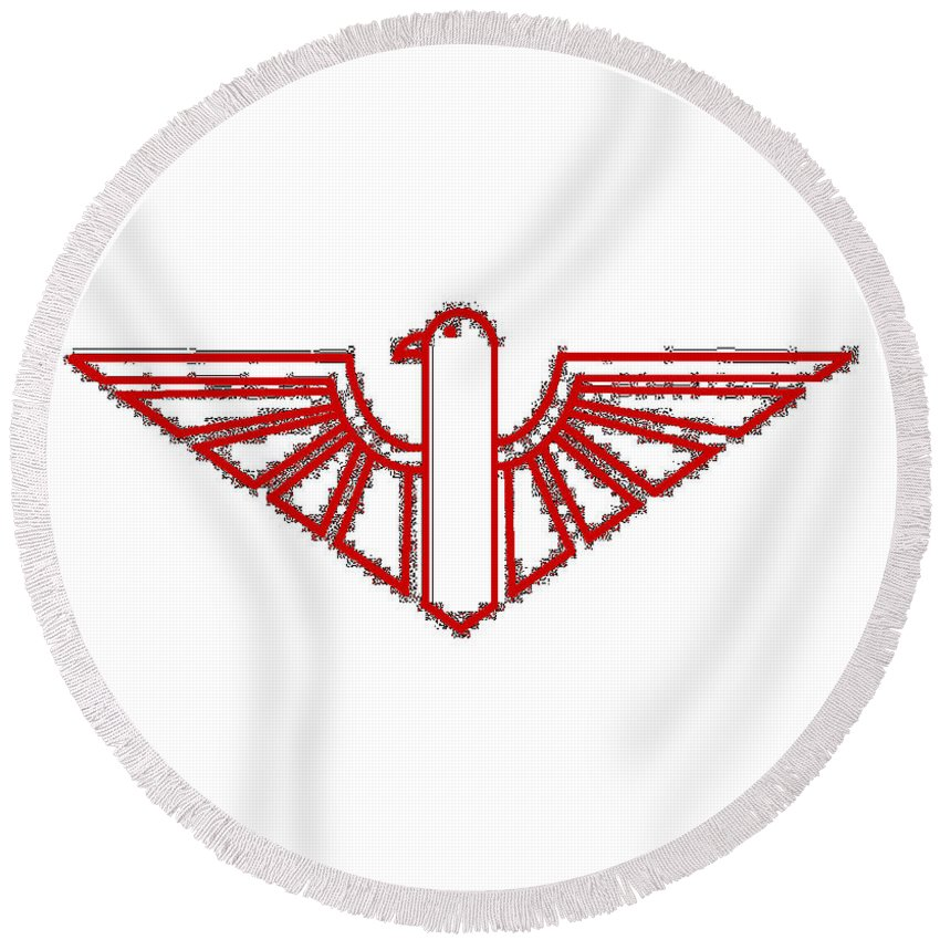 Red Round Beach Towel featuring the digital art Red Thunderbird 1 by Frederick Holiday