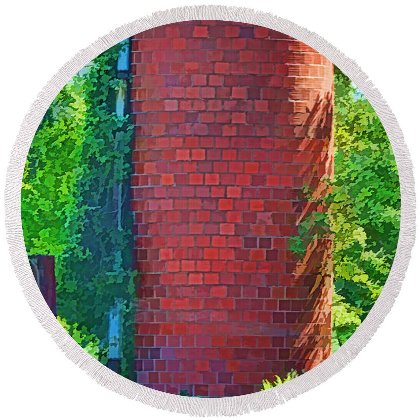 Agriculture Round Beach Towel featuring the photograph Red Tile Silo Digital Paint by Debbie Portwood