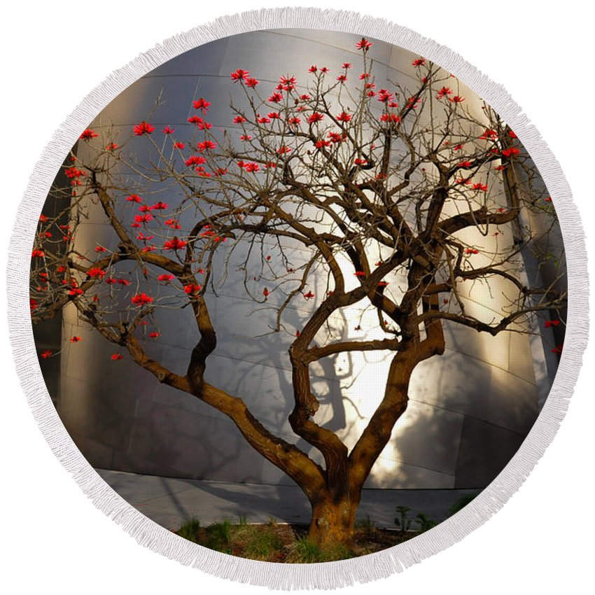 Red Tree Round Beach Towel featuring the photograph Red Tree by Gandz Photography