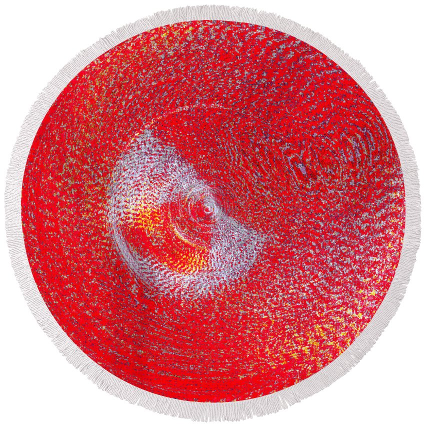 Nude Round Beach Towel featuring the painting Red Whirlpool by Alys Caviness-Gober