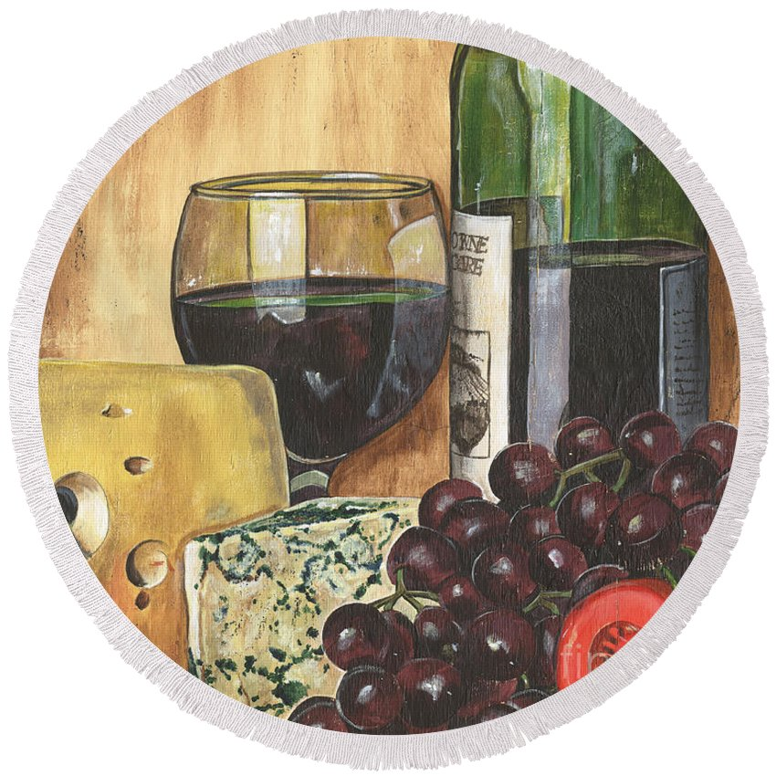 Red Wine Round Beach Towel featuring the painting Red Wine and Cheese by Debbie DeWitt