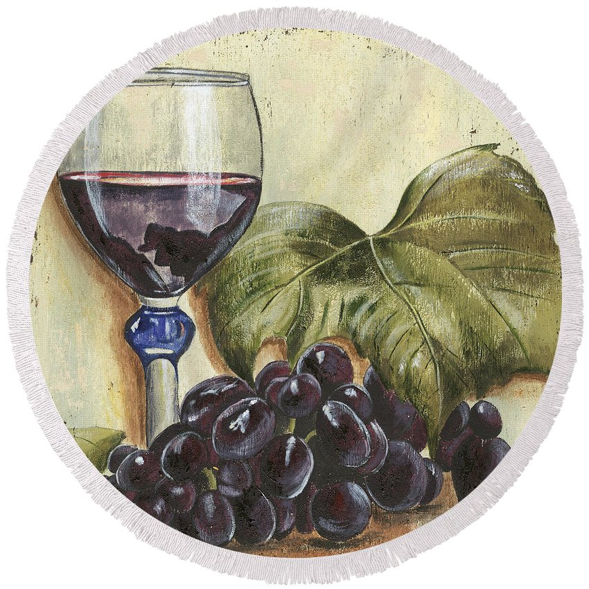 Wine Round Beach Towel featuring the painting Red Wine And Grape Leaf by Debbie DeWitt