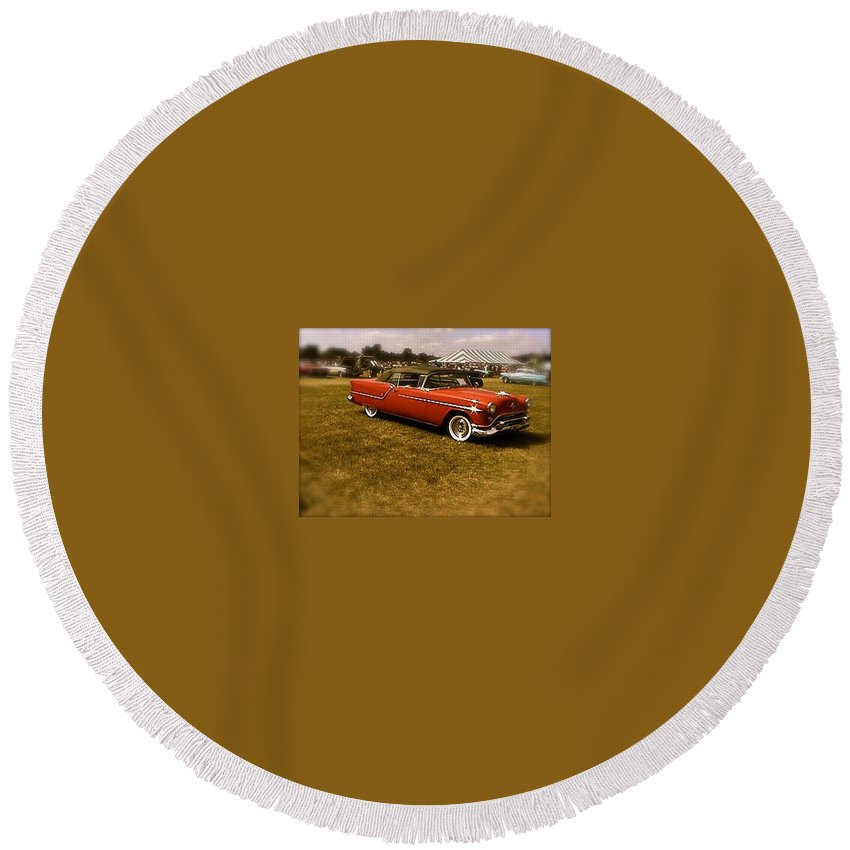 Cars Trucks Old Round Beach Towel featuring the photograph Red With Black Soft Top by Chris W Photography AKA Christian Wilson