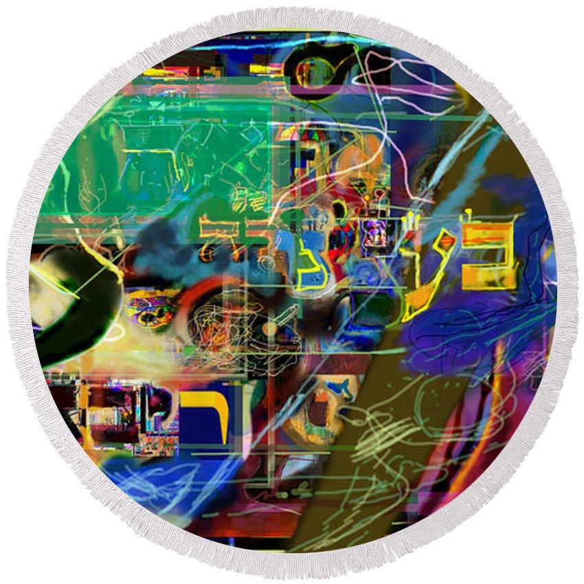 Round Beach Towel featuring the digital art Redemption Prayer 14 Ze by David Baruch Wolk