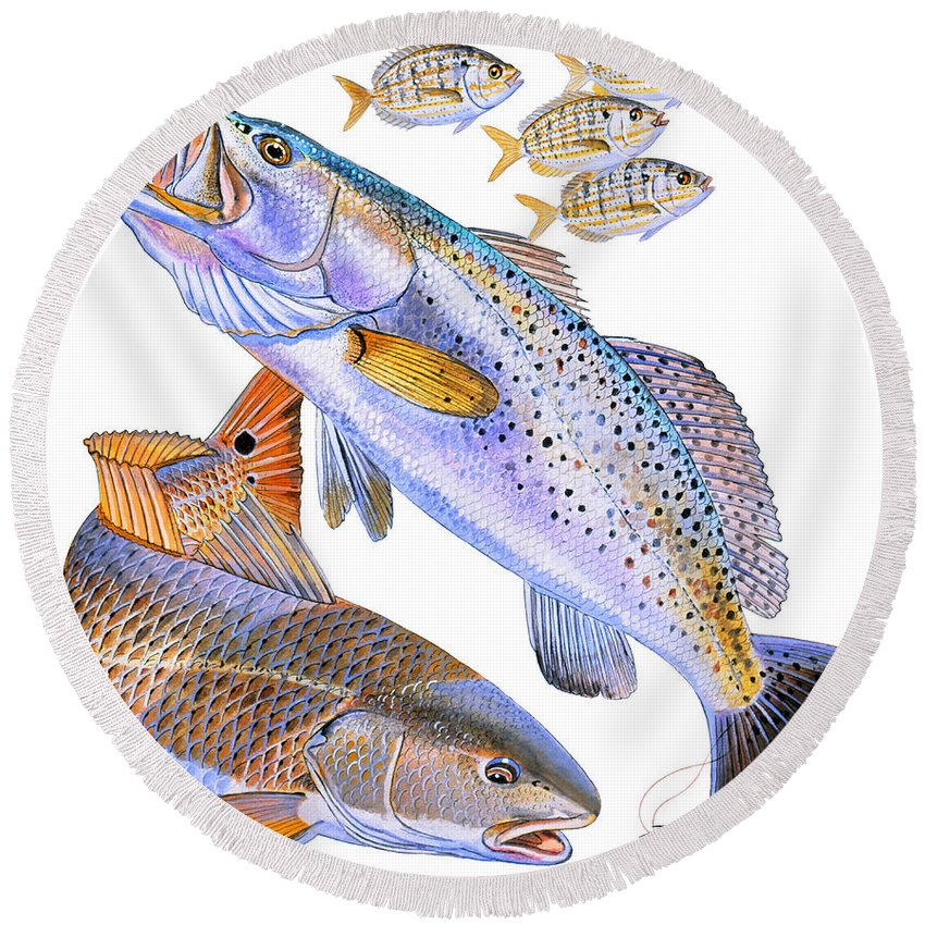 Trout Round Beach Towel featuring the painting Redfish Trout by Carey Chen